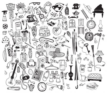 Illustration for Black and white home related objects set. Hand drawn vector. - Royalty Free Image