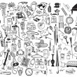 Black and white home related objects set. Hand dra...
