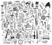 Black and white home related objects set Hand drawn vector