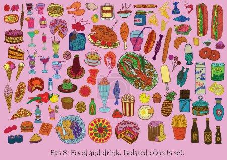 Photo pour Ensemble à manger et à boire. Vecteur dessiné à la main. Objets isolés . - image libre de droit