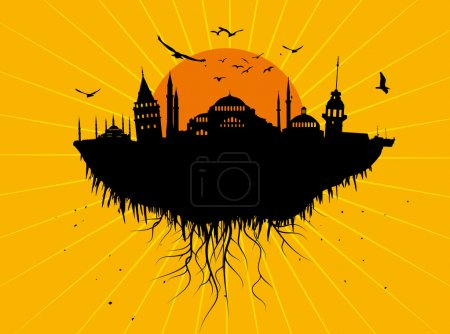 Istanbul Silhouette Grunge Vector Art