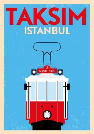 Illustration for Vintage Taksim Poster - Royalty Free Image