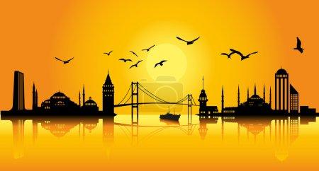 Illustration pour Silhouette Istanbul - image libre de droit