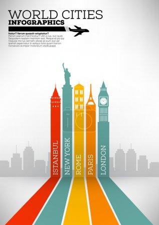 Photo pour Conception d'affiche un minimum de grandes villes - image libre de droit