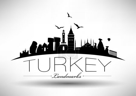 Illustration pour Turquie moderne Pays Skyline Design - image libre de droit