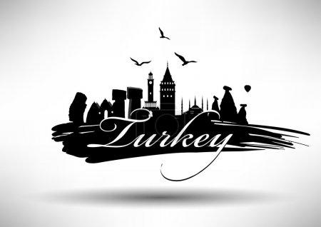Illustration pour Turquie Pays Skyline Design - image libre de droit