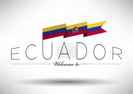 Ecuador Flag with Typography Design