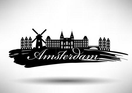 Illustration pour Amsterdam City Typographie Design - image libre de droit