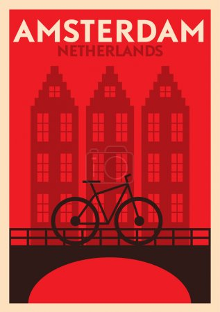 Illustration for Typographic Amsterdam City Poster Design - Royalty Free Image