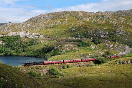 Photo pour Train à vapeur historique au parcours fort william - mallaig en Écosse - image libre de droit