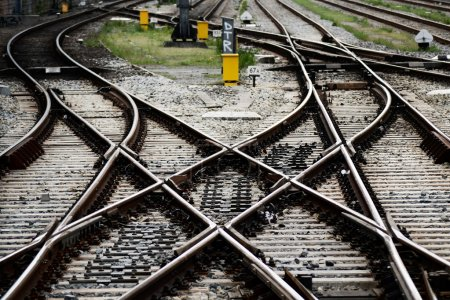 Rails, junctions and crossing in Amsterdam railway...