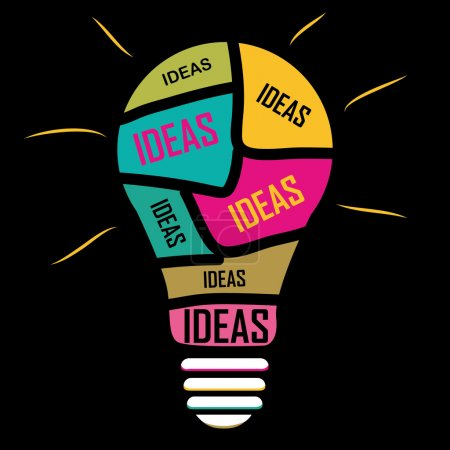 Illustration for Inphography of ideas ina yellos blue red pink bulb - Royalty Free Image