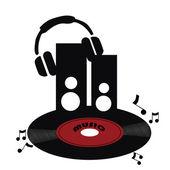 red vinyl with headphones