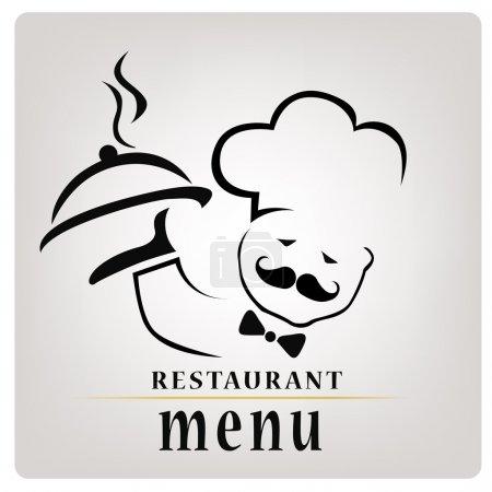 Illustration pour Silhouette d'un chef avec un plat chaud composé uniquement de lignes avec du texte pour la conception du menu - image libre de droit