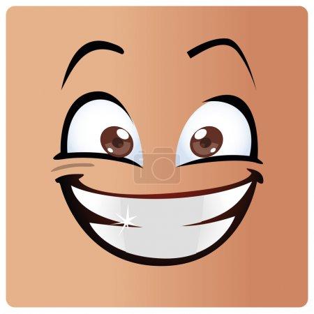 Illustration pour Un grand sourire blanc dans un grand visage - image libre de droit