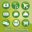 Nine green icons with white silhouettes for online...