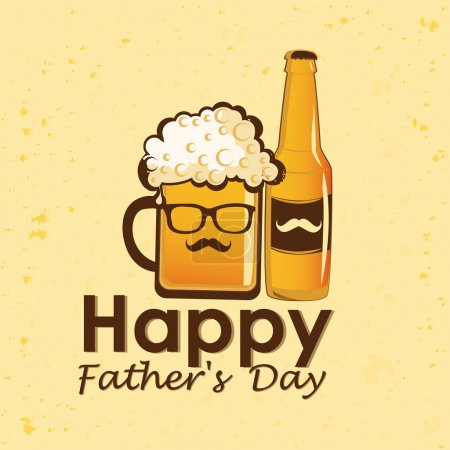 Illustration for A glass with beer, a bottle of beer and some text for father's day - Royalty Free Image