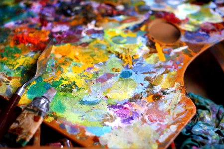 Photo for Palette with palette knife - Royalty Free Image