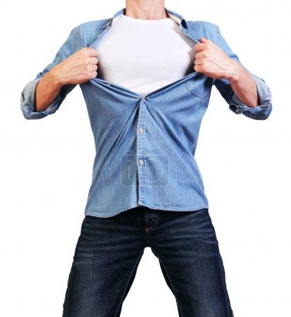 Man tearing his shirt off