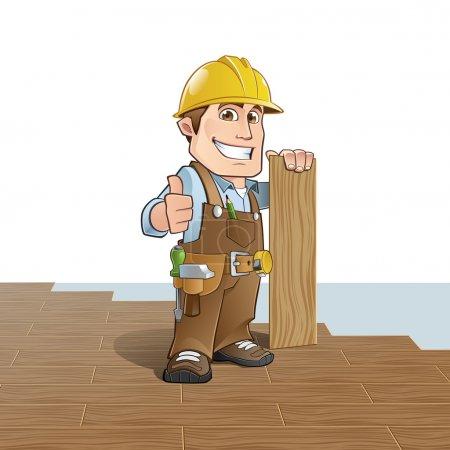 Illustration pour Charpentier installant des planchers de bois - image libre de droit