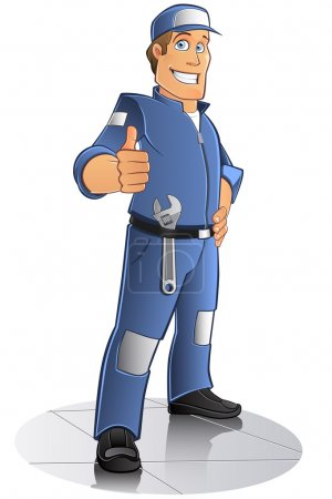 Illustration for Mechanical man with blue work clothes and cap, vector - Royalty Free Image