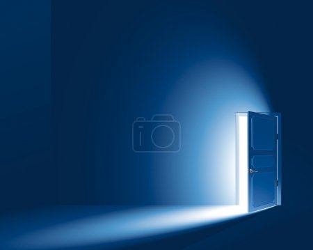 Illustration for Light in a room through the open door. EPS8. CMYK-version. No Meshes (Light and shadows were created only by a gradient) - Royalty Free Image
