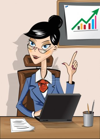 femme d'affaires assis dans un bureau avec un ordinateur portable à la table
