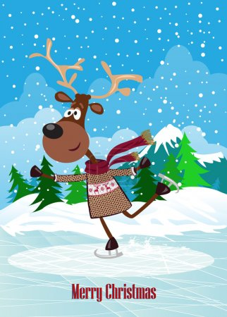 Vector card with skating deer,Christmas background.