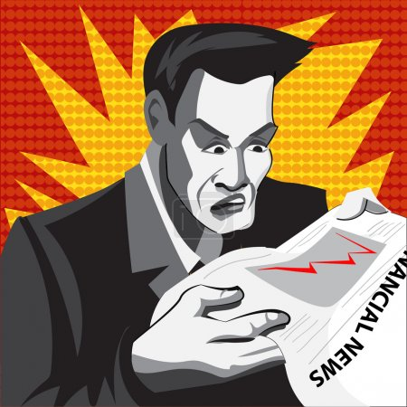 Illustration for Cartoon businessman in panics. Comics style. - Royalty Free Image