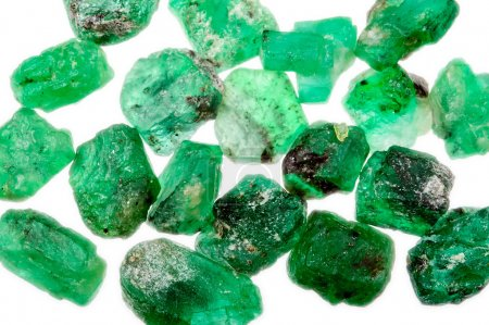 Green rough natural emeralds