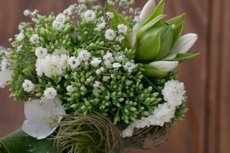 Bouquet of wild flowers in the style of Provence with nuts