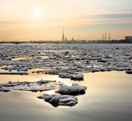 Spring ice floes on the River Neva in Saint Petersburg. view of the Peter and Paul Fortress in sunset