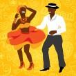 Beautiful cuban couple dance salsa. Vector illustr...