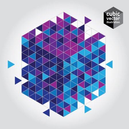Illustration pour Géométrique cubique et arrière-plan d'entraînement. Fichier en couches EPS 10 - image libre de droit