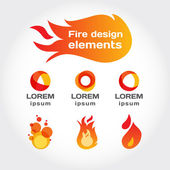 Fire vector isolated elements for design