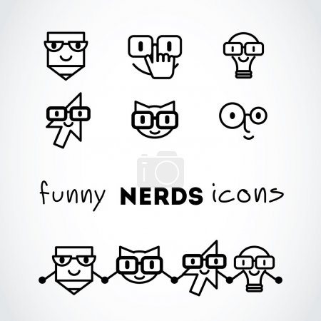 Nerds icon set with funny faces in glasses:
