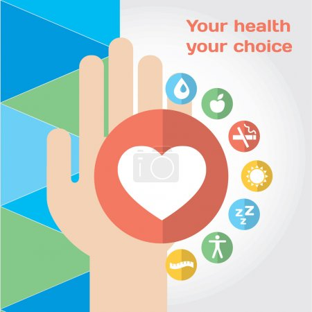Healthy lifestyle composition with hand and flat icon set