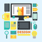 Designer's workspace and stuff Modern workplace of web designer in creative process or process of development Modern vector illustration in flat style