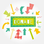 Donate green button with colorful arrows