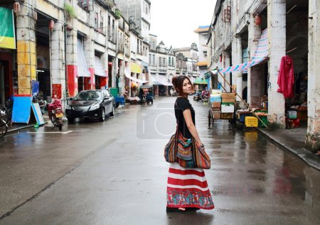 Travel Girl ready to explore in china old town on my way