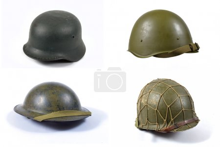 Fours military helmets of world war two...
