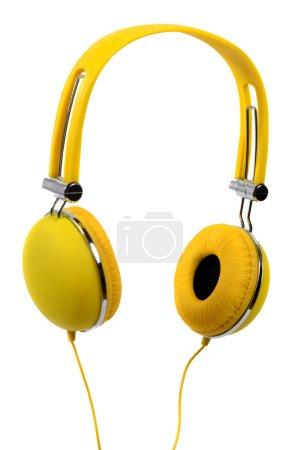 Photo pour Casque jaune sur fond blanc - image libre de droit