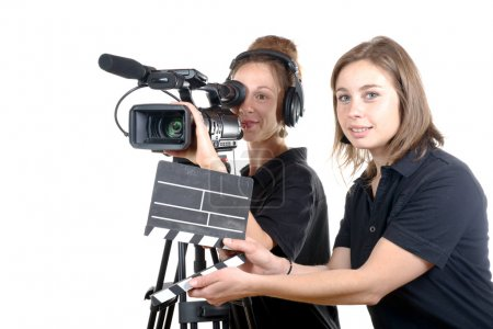 two young women with  camera