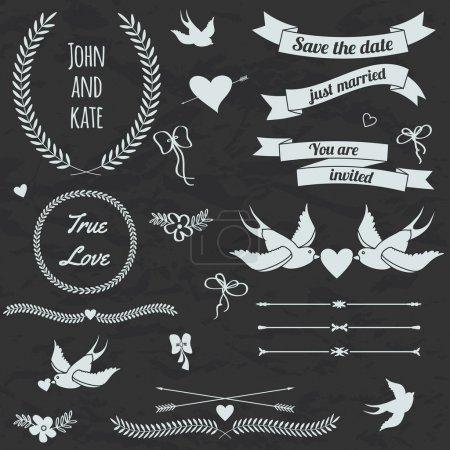 Vector wedding set with birds, hearts, arrows, ribbons, wreaths,