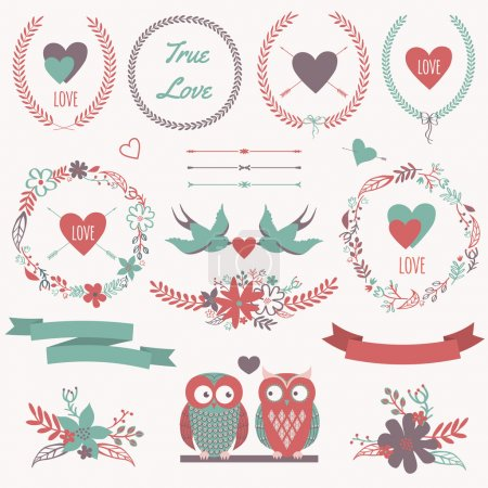 Illustration for Vector romantic set with bouquets, birds, hearts, arrows, ribbons, wreaths, flowers, bows, laurel and owls in love. Can be used for Valentine's Day or wedding - Royalty Free Image