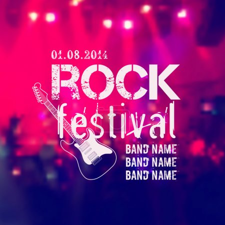 Vector blurred background with rock stage and crowd. Rock festival design template with guitar and place for text.