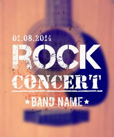 Vector blurred background with acoustic guitar. Rock concert design template with watercolor splatter and place for text.