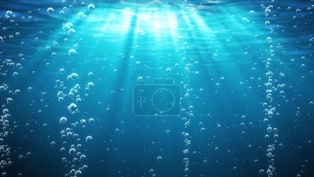 Photo for Under Water With Bubbles. Blue. - Royalty Free Image