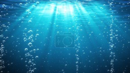 Photo pour Sous l'eau avec des bulles. Bleu . - image libre de droit