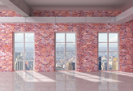 Photo for Red brick loft interior  with window to city - Royalty Free Image